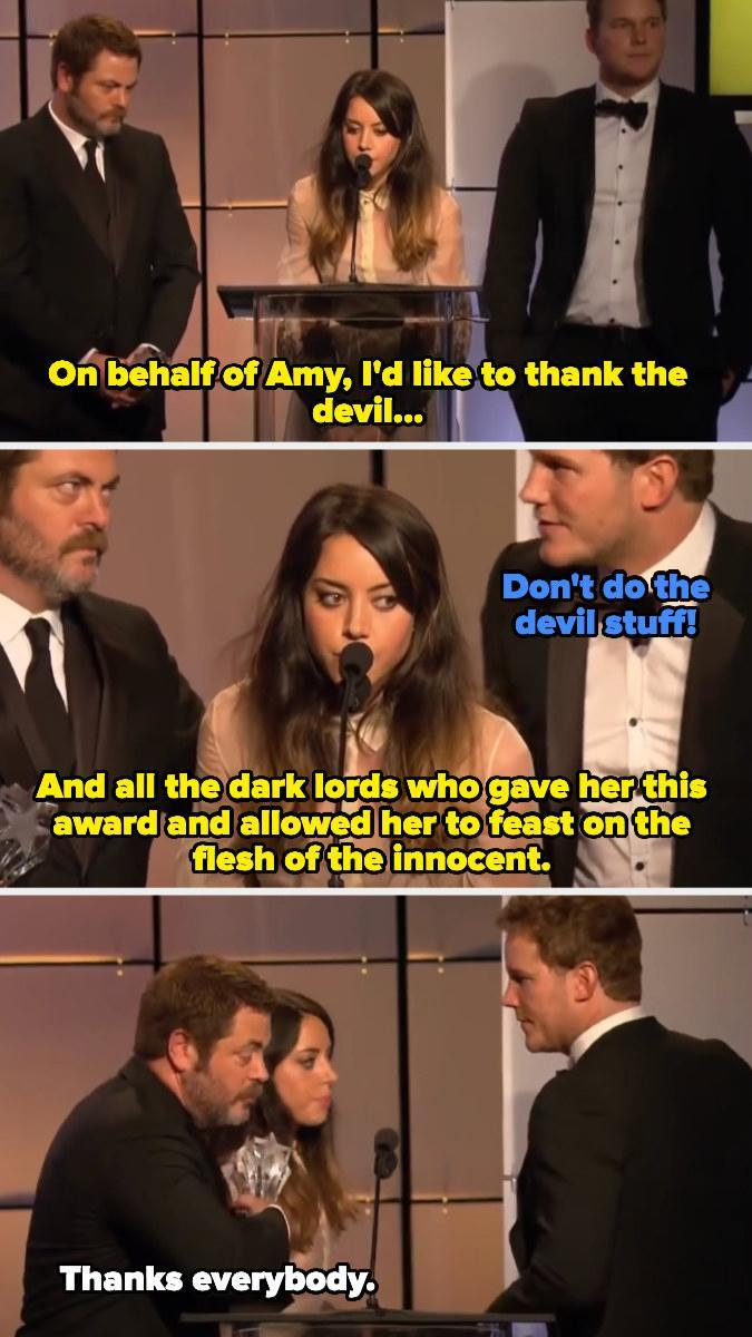 When Aubrey Plaza accepted the award on behalf of Amy Poehler, her co-star from Parks and Recreation, and gave the iconic speech.