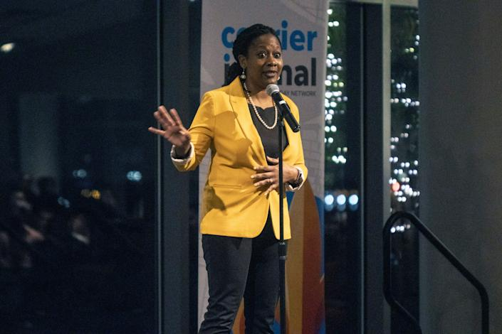 Veda Morgan, Director of Community Impact for The Courier Journal, took the stage at the Muhammad Ali Center on Wednesday night for another installment of the Storytellers Project. 1/15/20