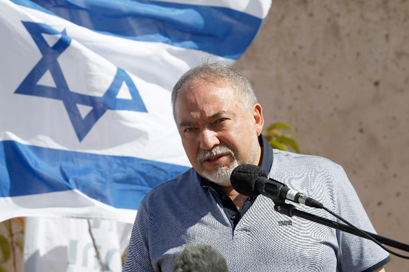 Israeli Defence Minister Avigdor Lieberman, seen here during a visit to the annexed Golan Heights in September 2018, has announced his resignation and called for early elections after a sharp disagreement over a Gaza ceasefire deal
