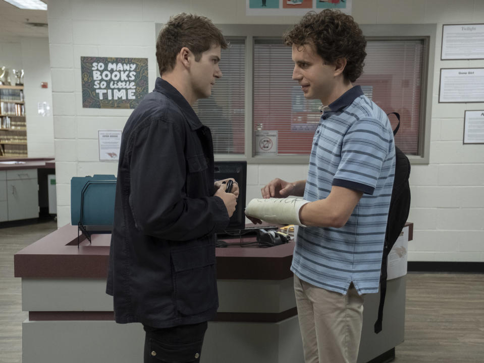 """This mage released by Universal Pictures shows Colton Ryan, left, and Ben Platt in a scene from """"Dear Evan Hansen."""" (Erika Doss/Universal Pictures via AP)"""