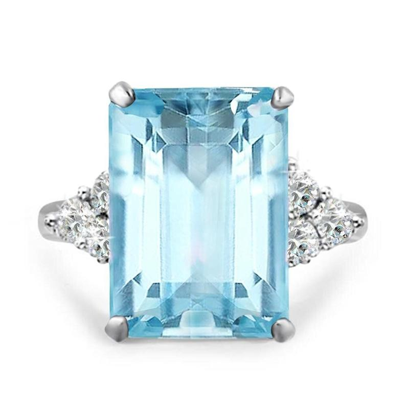 """Meghan Markle wore a ring like this one, given to her by Prince Harry, at her <a href=""""https://www.townandcountrymag.com/society/tradition/a20760121/meghan-markle-princess-diana-aquamarine-ring-royal-wedding-reception/"""" target=""""_blank"""" rel=""""noopener noreferrer"""">wedding reception</a>.<strong> </strong><a href=""""https://fave.co/38kkJai"""" target=""""_blank"""" rel=""""noopener noreferrer""""><strong>Get it now for $30 at Walmart</strong></a>."""