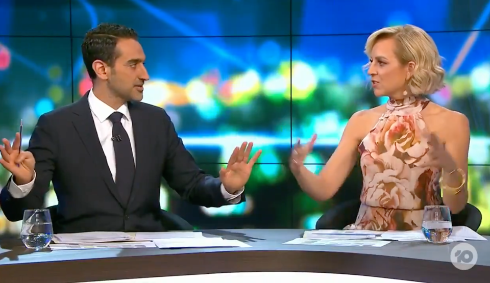 Waleed Aly and Carrie Bickmore talking on The Prooject
