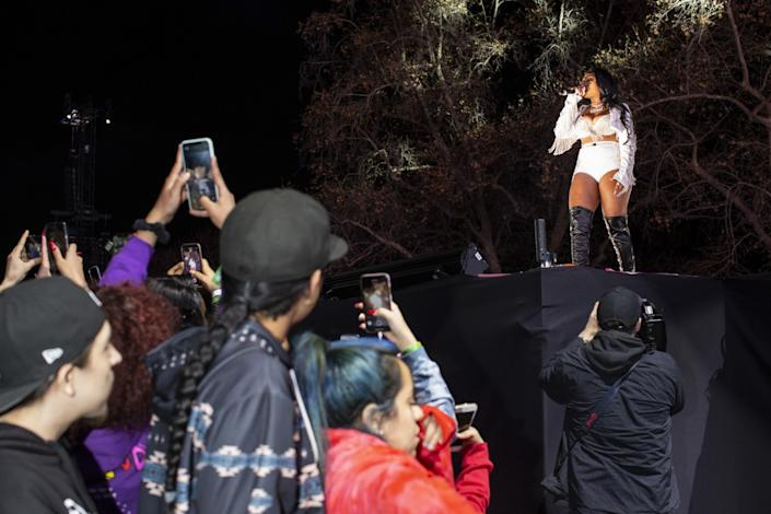 "Megan Thee Stallion performs during the Rolling Loud Hip-hop music festival at the Banc of California Stadium on Sunday, Dec. 15, 2019. <span class=""copyright"">(Gabriella Angotti-Jones / Los Angeles Times)</span>"