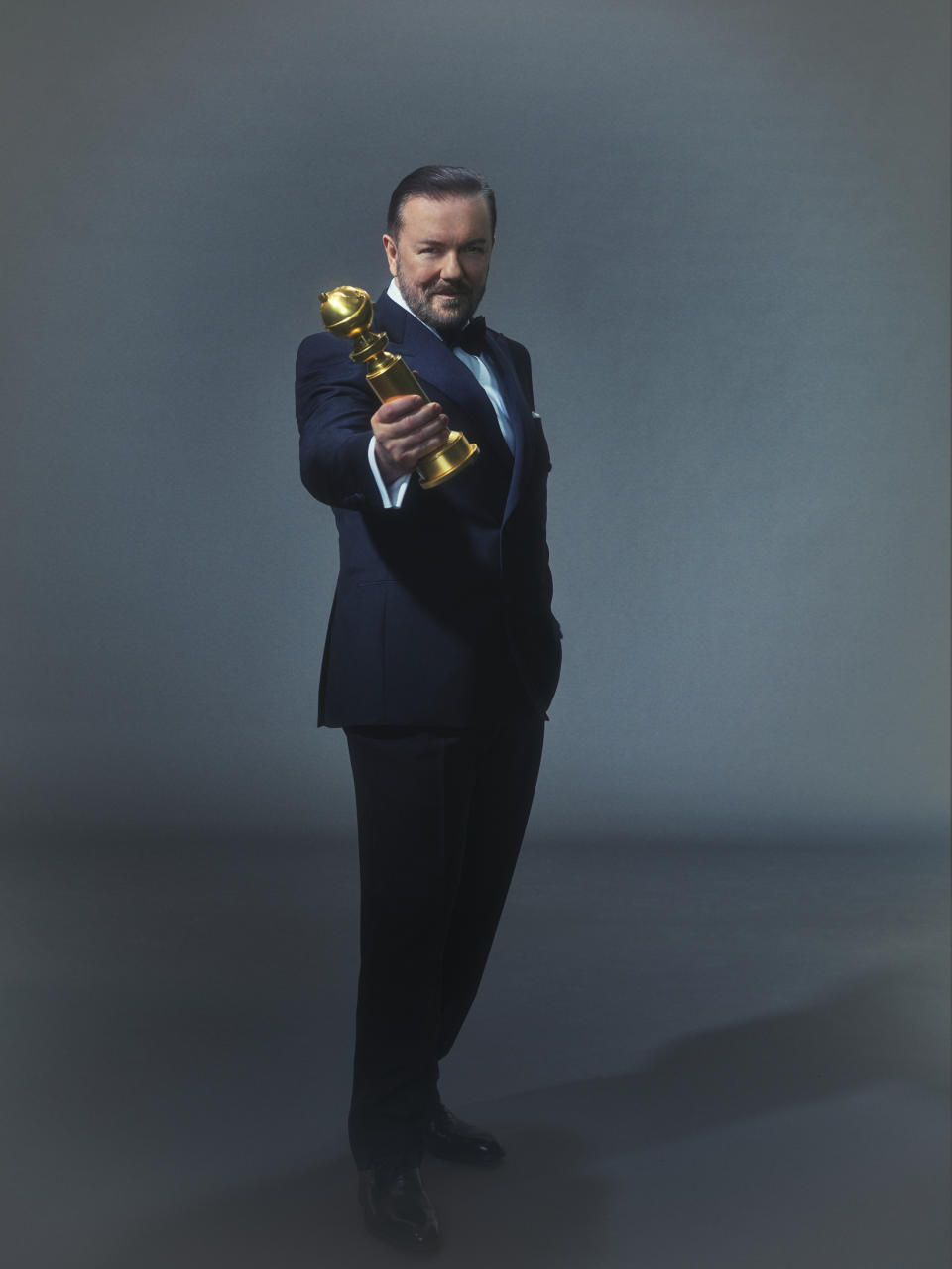 GOLDEN GLOBE AWARDS -- Season: 77 -- Pictured -- Ricky Gervais, Host--  (Photo by: Todd Antony/NBC/NBCU Photo Bank via Getty Images)