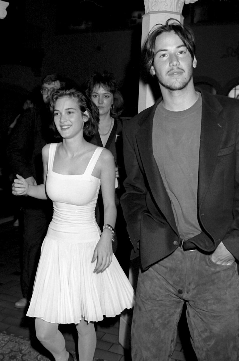 Winona Ryder and Reeves attend an event at the Hollywood Roosevelt Hotel.