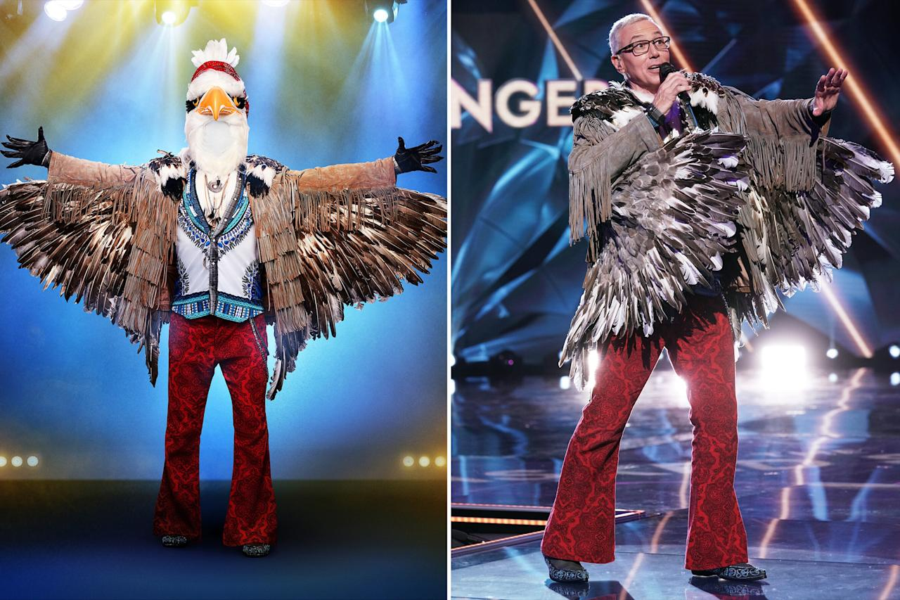 """<strong>Celebrity Behind the Mask: Dr. Drew Pinsky</strong>  Pinsky spread his wings as the eagle on <a href=""""https://people.com/tag/the-masked-singer/""""><em>The Masked Singer</em></a>, but unfortunately, <a href=""""https://people.com/tv/the-masked-singer-eagle-dr-drew-pinsky/"""">he didn't soar</a> through the competition. However, he looked back on the experience fondly — despite <a href=""""https://people.com/tv/dr-drew-pinsky-masked-singer-vocal-injury/"""">suffering a vocal cord injury</a>.  """"I recommend it highly,"""" the TV and radio personality told PEOPLE of his time on the show.""""It was fun. It was a stretch. I didn't know I could do it, but it was an expanding experience.""""  After Pinsky's version of """"I Would Do Anything For Love (But I Won't Do That),"""" judges<a href=""""https://people.com/tag/ken-jeong/"""">Ken Jeong</a>,<a href=""""https://people.com/tag/jenny-mccarthy/"""">Jenny McCarthy</a>,<a href=""""https://people.com/tag/nicole-scherzinger/"""">Nicole Scherzinger</a>and<a href=""""https://people.com/tag/robin-thicke/"""">Robin Thicke</a> thought Adam Carolla, Craig Ferguson, Jeff Goldblum, Bret Michaels, Pauly Shore or Howard Stern might be under the<a href=""""https://people.com/tv/emmys-2019-masked-singer-mascots-on-red-carpet/"""">eagle costume</a>."""
