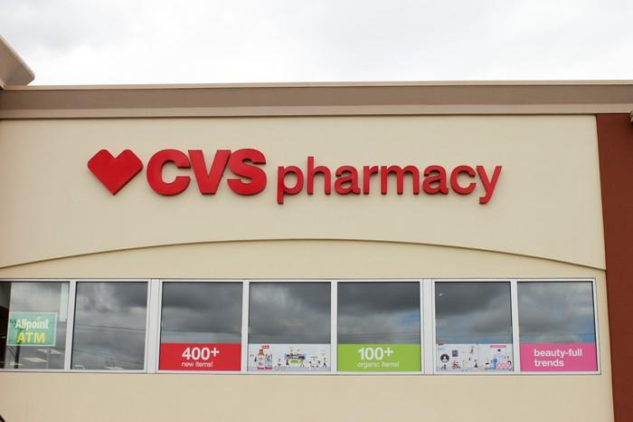 The outside of a CVS Pharmacy store.