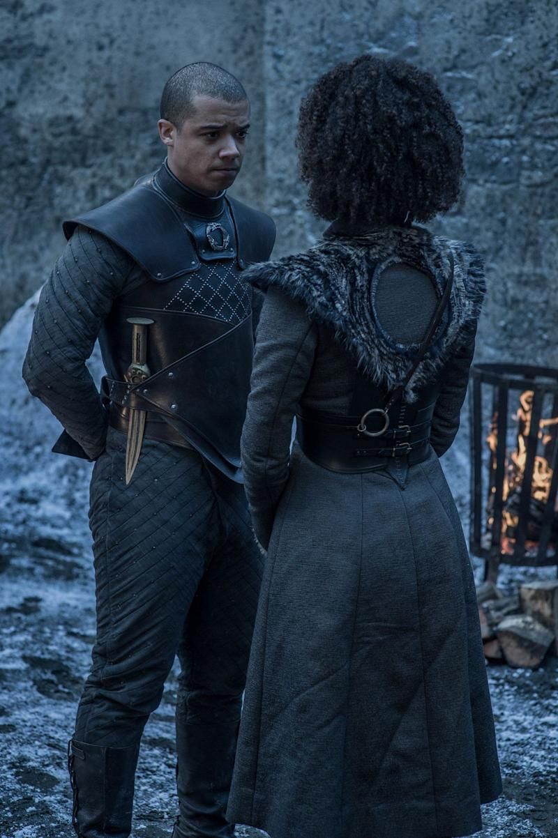 Jacob Anderson as Grey Worm and Nathalie Emmanuel as Missandei in <i>Game of Thrones</i>. (Photo: Helen Sloan/HBO)