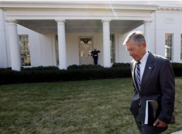 Sen. George Voinovich walks on the White House lawn in January.