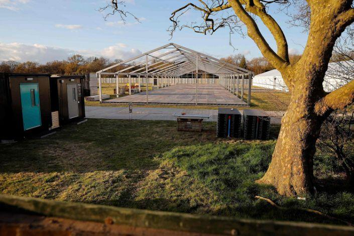 The site of a temporary mortuary is four miles from the Nightingale Hospital which has been set up to cope with the coronavirus crisis (Tolga Akmen / AFP - Getty Images)