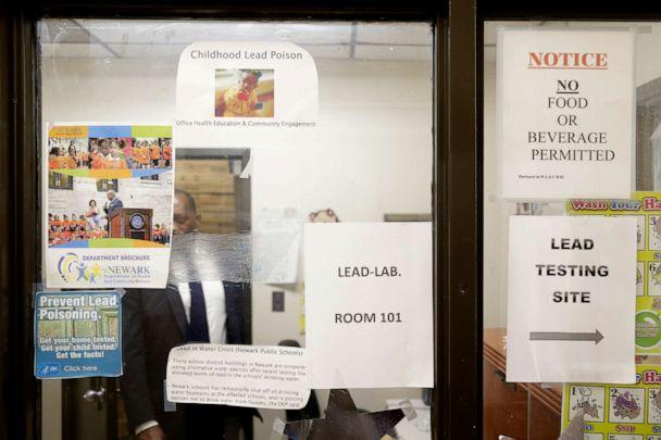 PHOTO: Signs about lead poisoning are posted in the Newark Health Department in Newark, N.J., Aug. 14, 2019. (Seth Wenig/Pool via AP)