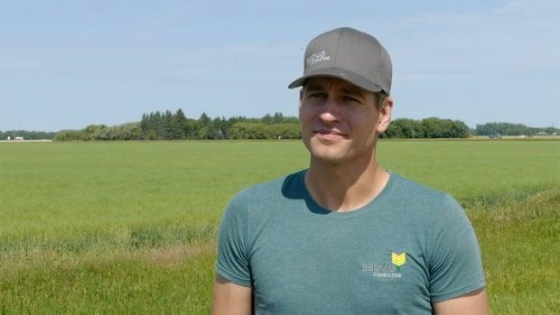 Kevin Thompson, an agronomist with 360 Ag Consulting who farms with his family near Dauphin, Man., says grasshoppers have presented a 'constant battle.' (Riley Laychuk/CBC - image credit)
