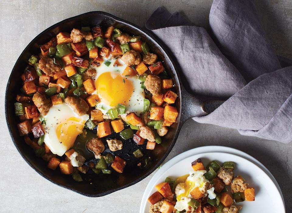 turkey sweet potato breakfast hash in cast iron skillet