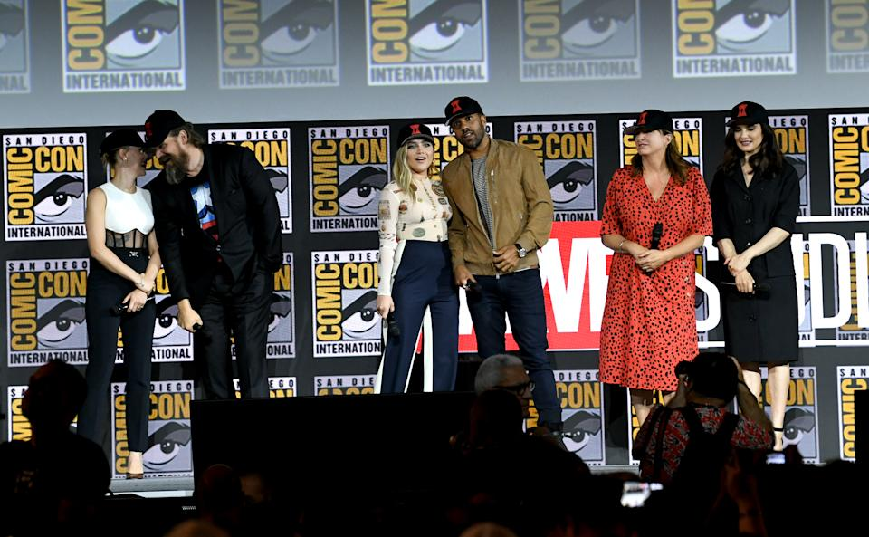 SAN DIEGO, CALIFORNIA - JULY 20: (L-R) Scarlett Johansson, David Harbour, Florence Pugh, O. T. Fagbenle, Cate Shortland and 	Rachel Weisz speak at the Marvel Studios Panel during 2019 Comic-Con International at San Diego Convention Center on July 20, 2019 in San Diego, California. (Photo by Kevin Winter/Getty Images)