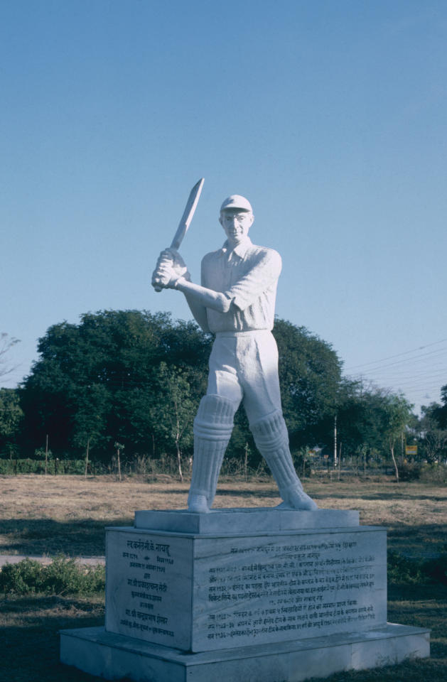"""INDIA - DECEMBER 1983:  Statue of CK Nayudu """"Father of Indian Cricket"""" taken in December 1983 in India. (Photo by Adrian Murrell/Getty Images)"""