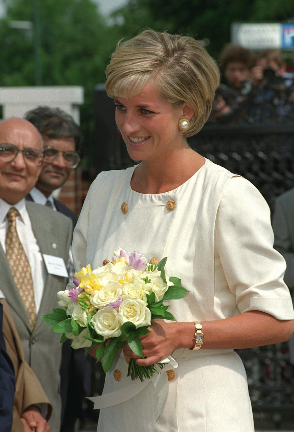 Prince Diana was pictured wearing what appears to be the same Cartier watch shortly before her death in 1997. (Getty Images)
