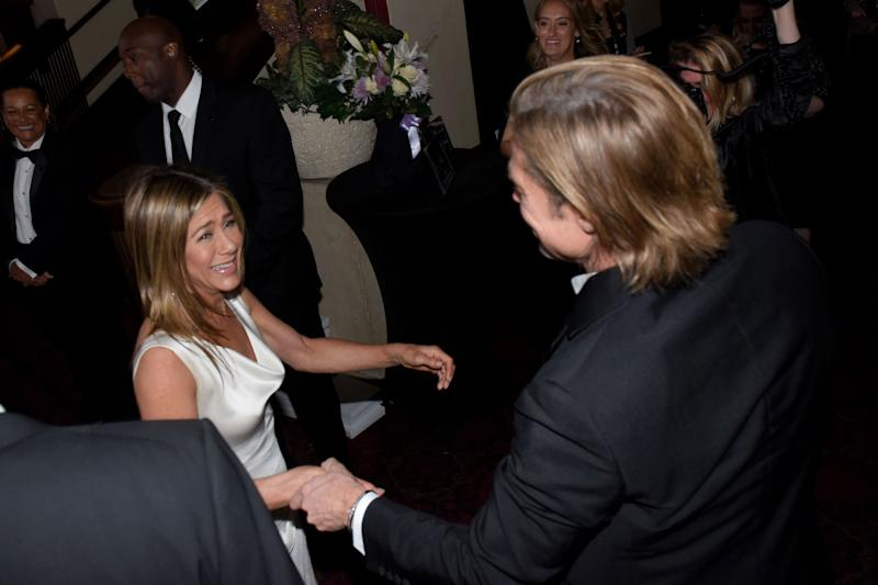 Brad Pitt and Jennifer Aniston at the SAG Awards backstage