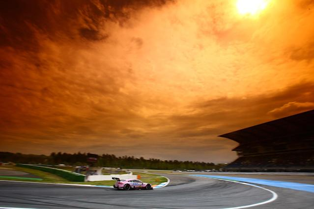 <p>Lucas Auer (AUT) Mercedes-AMG C63 DTM makes a turn under the orange sky during DTM race at Hockenheim on May 6, 2017. (Photo: Hoch Zwei/ZUMA Wire) </p>