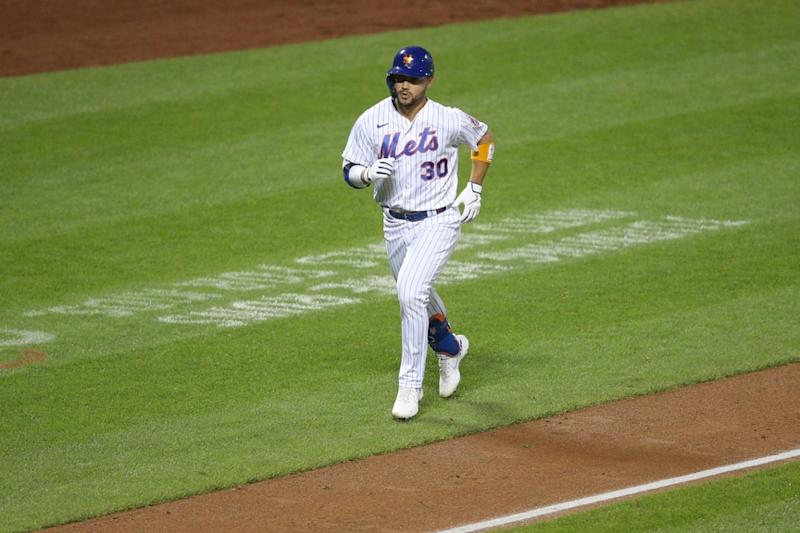 Michael Conforto rounds third base after hitting a home run vs. Orioles
