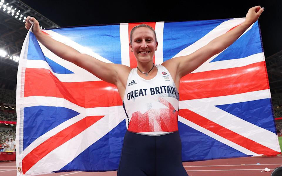 Bronze medalist Holly Bradshaw of Great Britain celebrates after the Women's Pole Vault Final during the Athletics events of the Tokyo 2020 Olympic Games at the Olympic Stadium in Tokyo, Japan, 05 August 2021. Olympic Games 2020 Athletics, Tokyo, Japan - DIEGO AZUBEL/EPA-EFE/Shutterstock