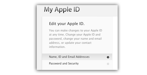 My Apple ID screen for iCloud