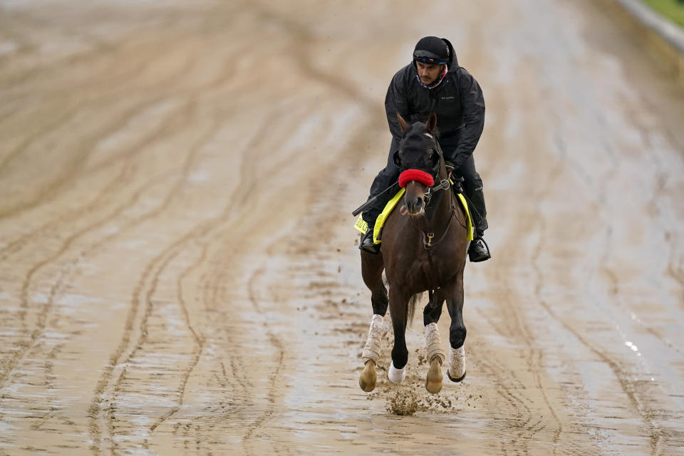 Kentucky Derby entrant Hot Rod Charlie works out at Churchill Downs Thursday, April 29, 2021, in Louisville, Ky. The 147th running of the Kentucky Derby is scheduled for Saturday, May 1. (AP Photo/Charlie Riedel)