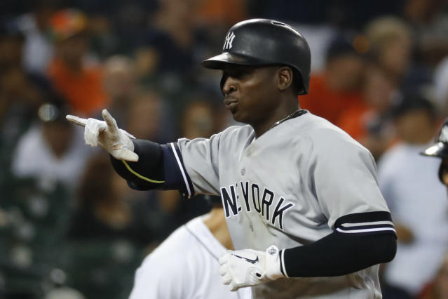 New York Yankees' Didi Gregorius celebrates his solo home run in the seventh inning of a baseball game against the Detroit Tigers in Detroit, Tuesday, Sept. 10, 2019. (AP Photo/Paul Sancya)