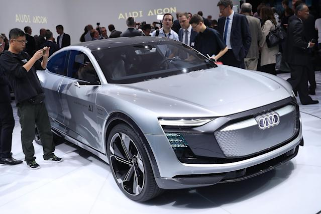 <p>Visitors look at an Audi Elaine autonomous concept car at the 2017 Frankfurt Auto Show on Sept. 12 in Frankfurt am Main, Germany. (Photo by Sean Gallup/Getty Images) </p>