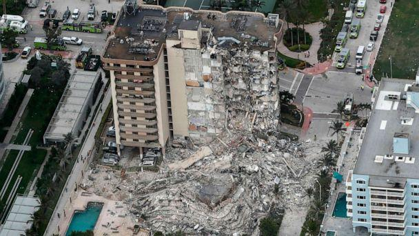 PHOTO: Debris fills the lot where the 12-story oceanfront Champlain Towers South Condo collapsed early Thursday, June 24, 2021 in Surfside, Fla., about 6 miles north of Miami Beach. (South Florida Sun-Sentinel via AP)