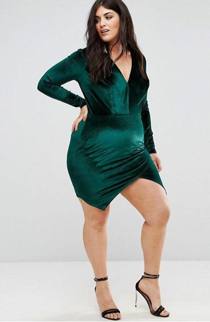 "From <a href=""http://us.asos.com/club-l-plus/club-l-plus-velvet-plunge-front-dress-with-wrap-skirt-detail/prd/8688562?clr=brightgreen&SearchQuery=&cid=18761&pgesize=36&pge=0&totalstyles=87&gridsize=3&gridrow=1&gridcolumn=1"" target=""_blank"">ASOS</a>. Comes up to a size 24."