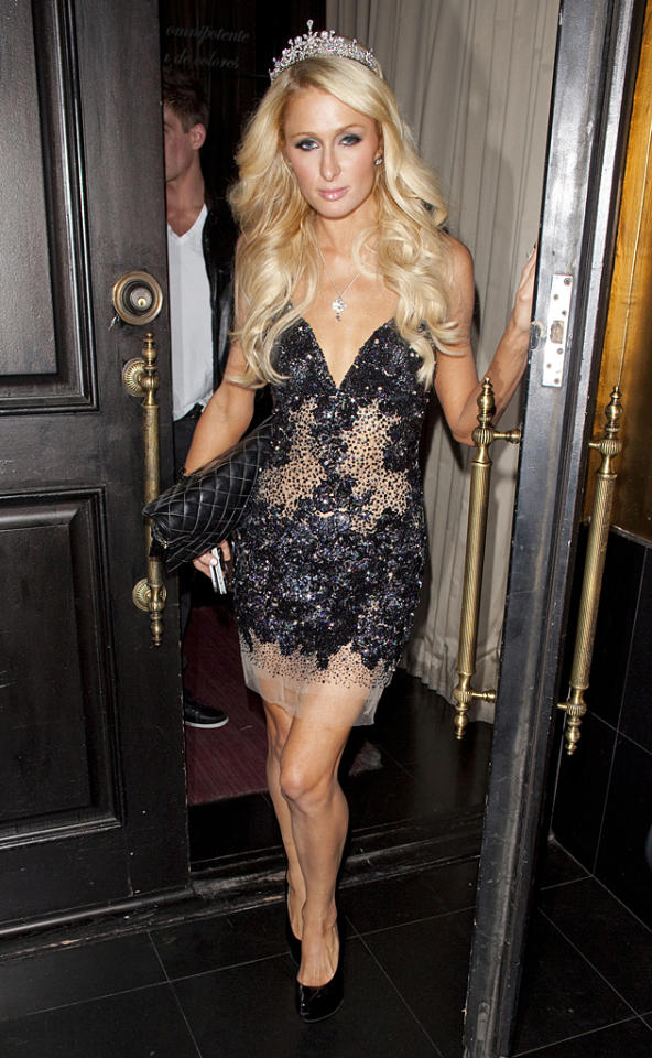 Paris Hilton enjoys a birthday dinner at Beso Restaurant in Hollywood. The socialite turned 31 a week ago and her friends threw her a surprise party.