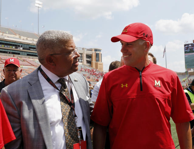 The lawyer who was hired to represent two football players facing sexual assault allegations said he was hired by football coach D.J. Durkin, not by former athletic director Kevin Anderson as the university initially stated. (Getty Images)