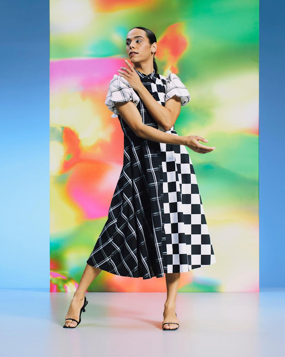 """<strong>Christopher John Rogers x Target </strong><br><br><strong>Christopher John Rogers x Target</strong> Mixed Checkerboard Puff Sleeve Shirtdress, $, available at <a href=""""https://go.skimresources.com/?id=30283X879131&url=https%3A%2F%2Fgoto.target.com%2FYgRZxB"""" rel=""""nofollow noopener"""" target=""""_blank"""" data-ylk=""""slk:Target"""" class=""""link rapid-noclick-resp"""">Target</a>"""