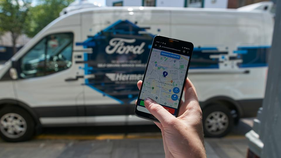 Pedestrian couriers will interact with the van via a smartphone app. Photo: Ford