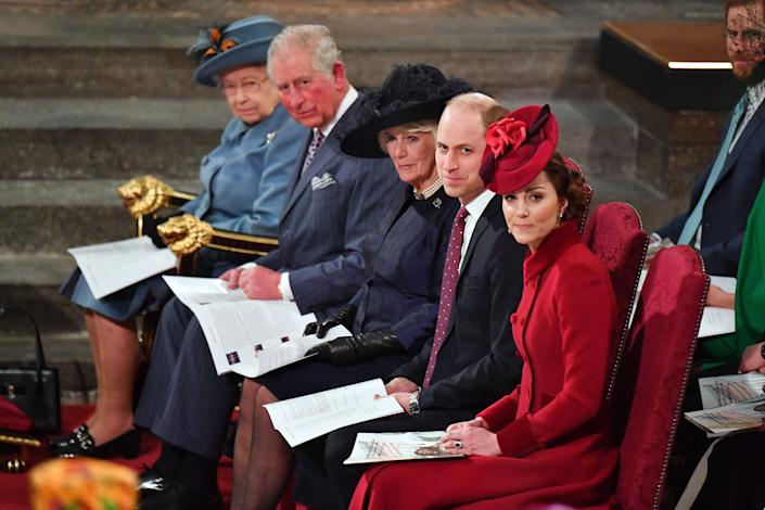 (L-R) Britain's Queen Elizabeth II, Britain's Prince Charles, Prince of Wales, Britain's Camilla, Duchess of Cornwall, Britain's Prince William, Duke of Cambridge, and Britain's Catherine, Duchess of Cambridge sit inside Westminster Abbey as they attend the annual Commonwealth Service in London on March 9, 2020. - Britain's Queen Elizabeth II has been the Head of the Commonwealth throughout her reign. Organised by the Royal Commonwealth Society, the Service is the largest annual inter-faith gathering in the United Kingdom. (Photo by Phil HARRIS / POOL / AFP) (Photo by PHIL HARRIS/POOL/AFP via Getty Images)