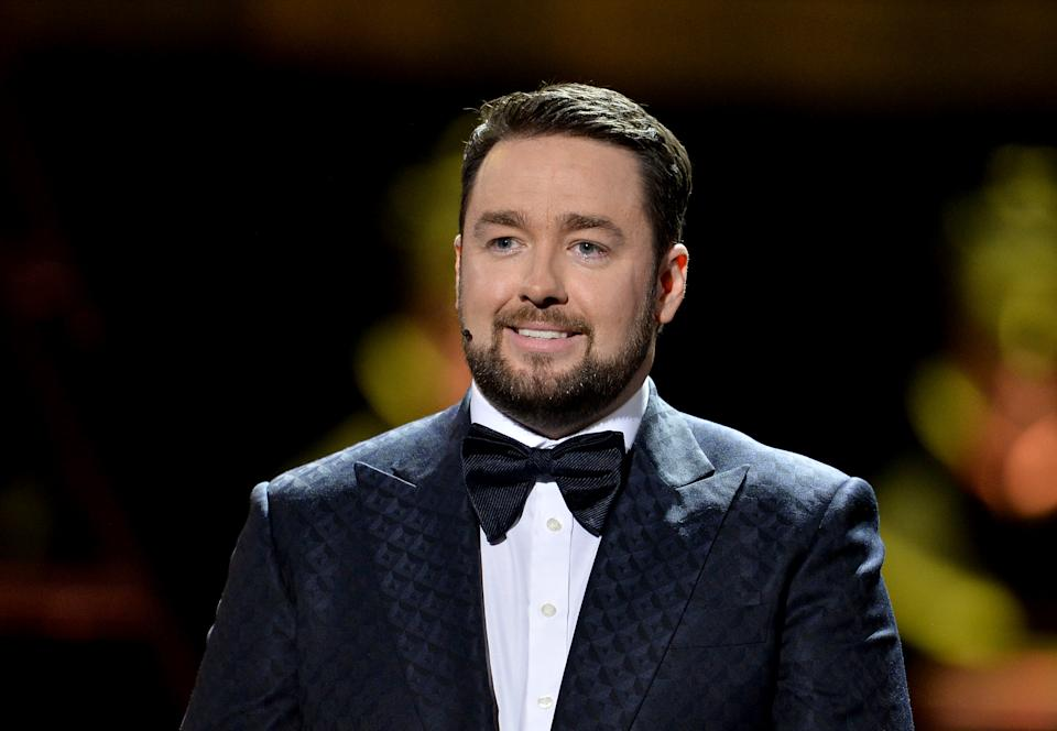 LONDON, ENGLAND - APRIL 07:  Host Jason Manford on stage during The Olivier Awards 2019 with Mastercard at the Royal Albert Hall on April 07, 2019 in London, England. (Photo by Jeff Spicer/Getty Images)