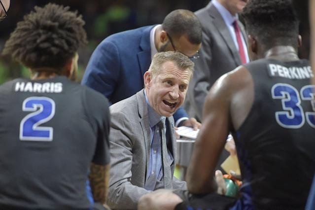 Buffalo head coach Nate Oats reacts during a timeout against Toledo in the second half Feb. 15, 2019, in Toledo, Ohio. Buffalo won 88-82. (AP Photo/David Richard)