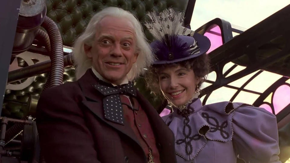 Christopher Lloyd and Mary Steenburgen in 'Back to the Future Part III'. (Credit: Universal)