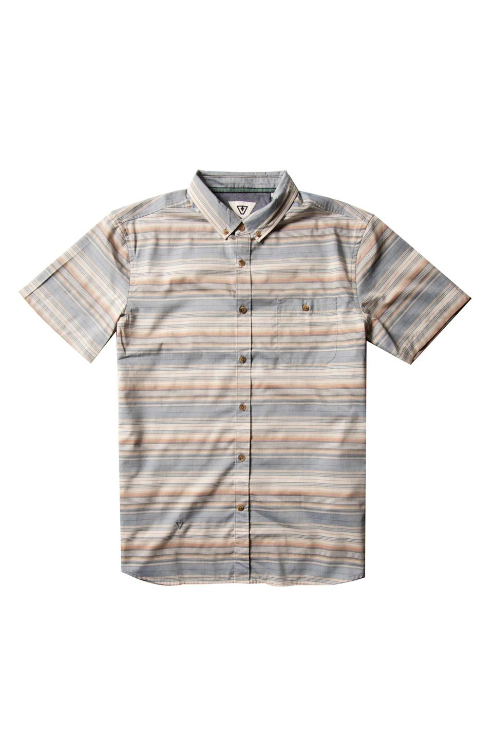 """<p><strong>VISSLA</strong></p><p>nordstrom.com</p><p><a href=""""https://go.redirectingat.com?id=74968X1596630&url=https%3A%2F%2Fwww.nordstrom.com%2Fs%2Fvissla-sprays-slim-fit-stripe-short-sleeve-button-down-shirt%2F5787432&sref=https%3A%2F%2Fwww.esquire.com%2Fstyle%2Fmens-fashion%2Fg37002225%2Fnordstrom-anniversary-sale-mens-fashion-deals-2021%2F"""" rel=""""nofollow noopener"""" target=""""_blank"""" data-ylk=""""slk:Shop Now"""" class=""""link rapid-noclick-resp"""">Shop Now</a></p><p><strong>Sale: $34.99</strong></p><p><strong>After Sale: $59.95</strong></p><p>A sun-faded striped shirt should you have an IRL event on the horizon. </p>"""