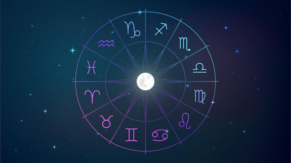 Wheel with twelve signs of the zodiac in night sky with moon