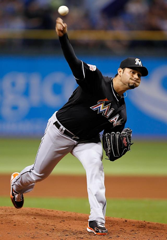 ST PETERSBURG, FL - JUNE 16: : Pitcher Anibal Sanchez #19 of the Miami Marlins pitches against the Tampa Bay Rays during the game at Tropicana Field on June 16, 2012 in St. Petersburg, Florida. (Photo by J. Meric/Getty Images)