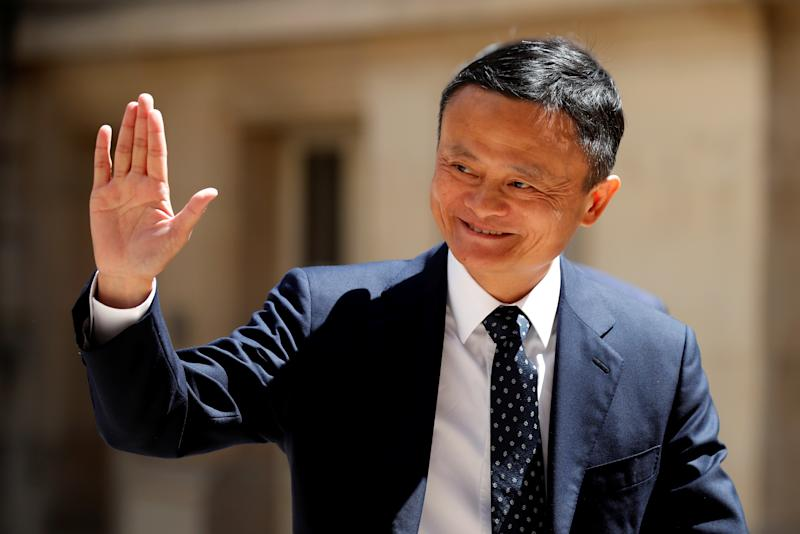 """Jack Ma, chairman of Alibaba Group arrives at the """"Tech for Good"""" Summit in Paris, France May 15, 2019. REUTERS/Charles Platiau"""