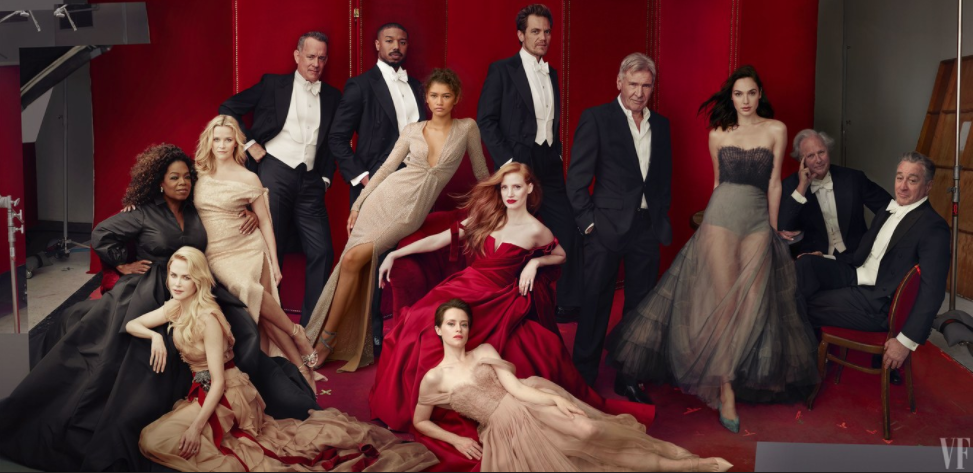 <p>The 2018 cover included a stellar line-up, including Nicole Kidman, Jessica Chastain, Robert Di Nero, Tom Hanks and Oprah Winfrey. 'The Crown' star Claire Foy made her debut, as she Zendaya. But it was Reese Witherspoon's 'third leg' that got everyone talking. <i>[Photo: Vanity Fair]</i> </p>