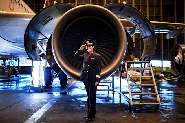 <p>Ana Sousa, 45, TAP Air Portugal pilot for 11 years, poses for a portrait at a TAP hangar in Lisbon, Spain, on February 28, 2018. (Photo: Patricia de Melo Moreira/AFP/Getty Images) </p>