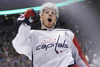 Washington Capitals' John Carlson (74) celebrates his goal against the Toronto Maple Leafs during the first period of an NHL hockey game Tuesday, Oct. 29, 2019, in Toronto. (Hans Deryk/The Canadian Press via AP)