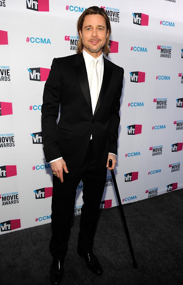 """<a href=""""http://movies.yahoo.com/movie/contributor/1800018965"""">Brad Pitt</a> at the 17th Annual Critics' Choice Awards in Hollywood on January 12, 2012."""