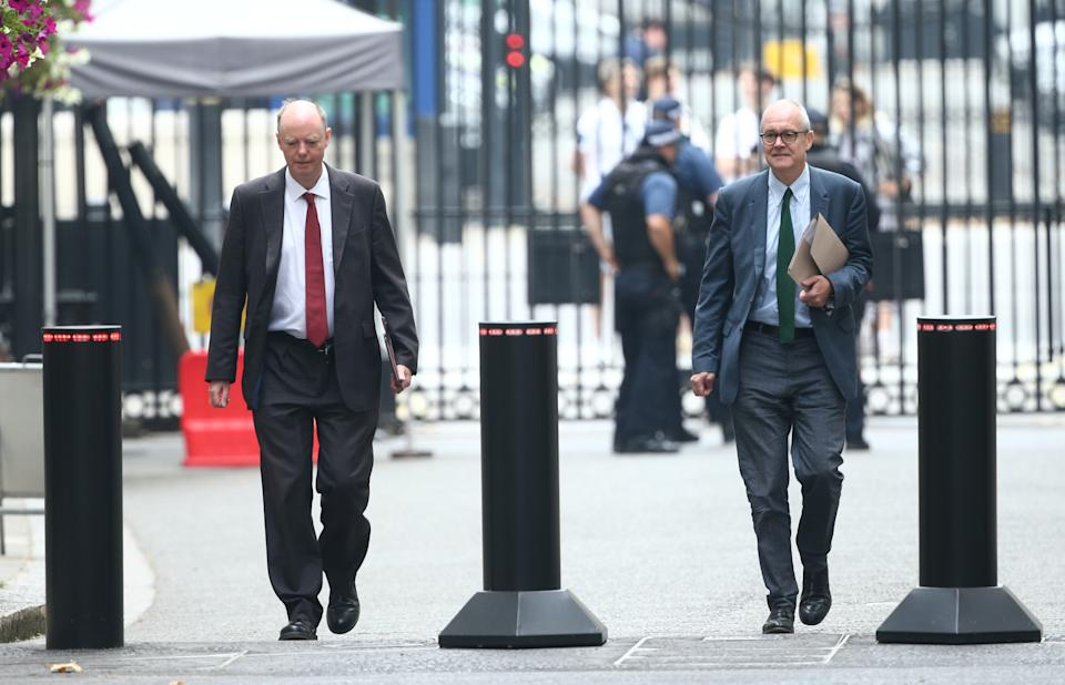 The government's chief medical officer Chris Whitty (left) and chief scientific adviser Patrick Vallance arrive in Downing Street, London, ahead of a briefing to explain how the coronavirus is spreading in the UK and the potential scenarios that could unfold as winter approaches.