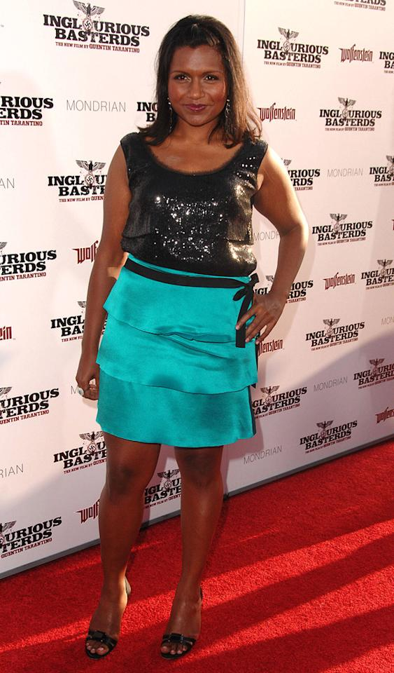 """<a href=""""http://movies.yahoo.com/movie/contributor/1809234849"""">Mindy Kaling</a> at the Los Angeles premiere of <a href=""""http://movies.yahoo.com/movie/1808404206/info"""">Inglourious Basterds</a> - 08/10/2009"""