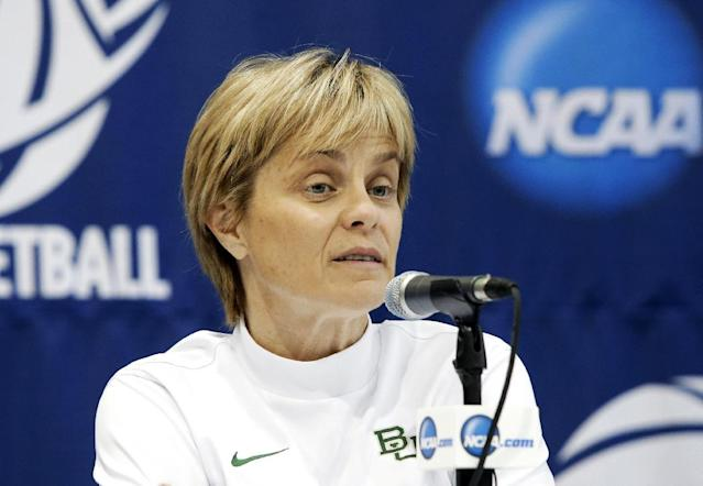 Baylor coach Kim Mulkey responds to a question during an NCAA college basketball tournament news conference, Sunday, March 23, 2014, in Waco, Texas. Baylor is scheduled to play California on Monday. (AP Photo/Tony Gutierrez)