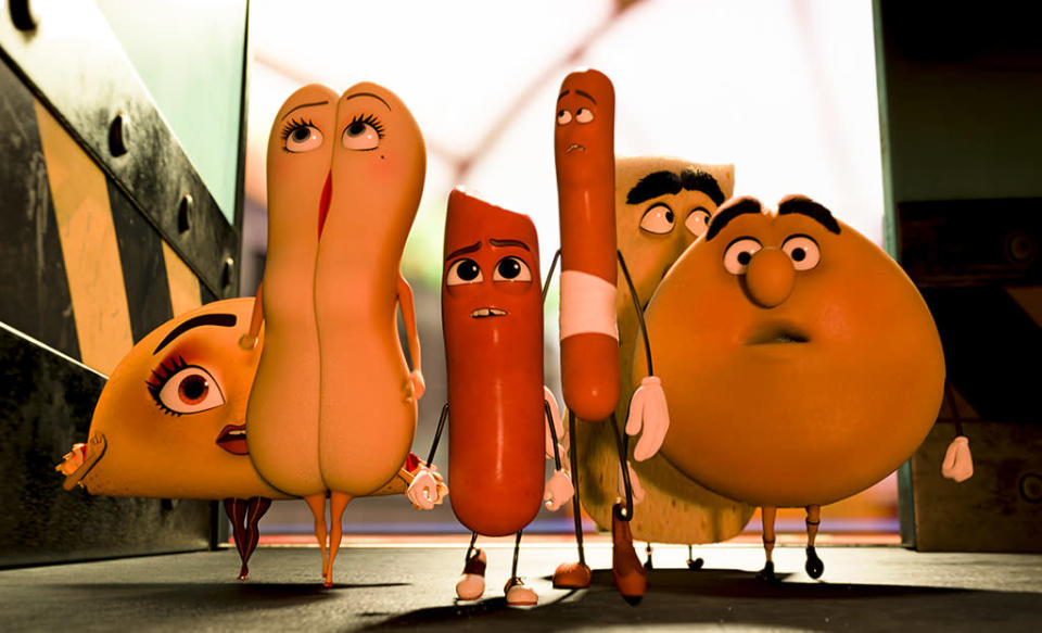 <p>'Zootopia' may have the brains, and 'Moana' may have the heart (of the ocean), but only 'Sausage Party' has the food orgy to end all food orgies. Remember Academy: A vote for 'Sausage Party' is a vote in favor of more savagely witty cartoons for grown-ups. (Photo: Columbia Pictures) </p>